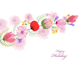 watercolor card with spring cherrys blossoms