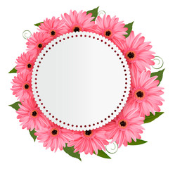 Holiday background with pink flowers and a gift card. Vector.