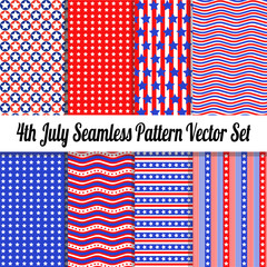 4th July Seamless Pattern Vector Pack