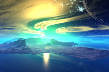 Fantasy alien planet.