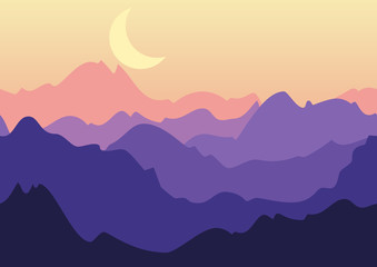 Vector night landscape, purple mountains and moon on sky. Nature