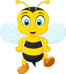 Cartoon adorable bees posing
