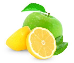 apple with lemon isolated on white background