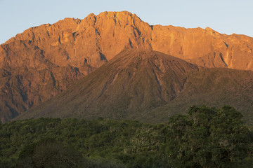 Mount Meru at sunrise near Arusha in Tanzania. Africa.