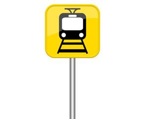 Gelbes Schild zeigt Zug