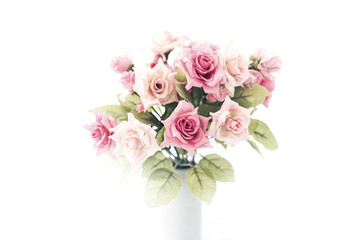 artificial pink roses bouquet in ceramic vase, high key style