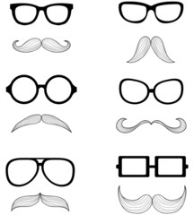 A set of glasses and a mustache