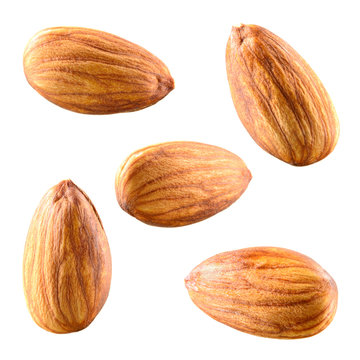 Almonds isolated on white background. Collection.