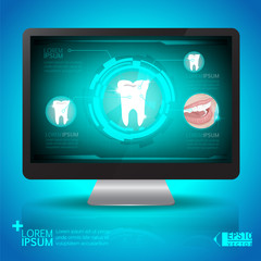 Tooth analyze on computer screen