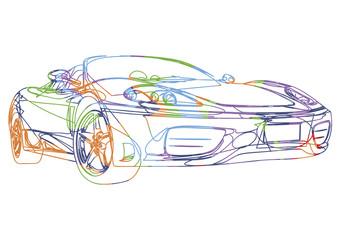 Esquisse multicolore d'une voiture de sport