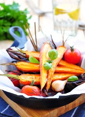 roasted carrots and beets in olive oil