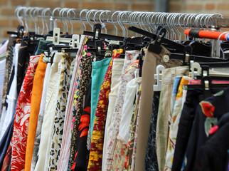 vintage clothes hanging in the flea market