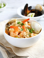 Rice with seafood in a bowl