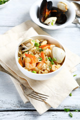 Delicious rice with shrimp and herbs