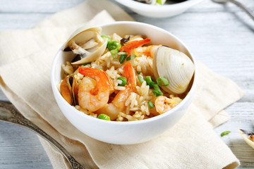 Rice with shrimp and mussels