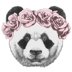 Original drawing of Panda with roses. Isolated on white background