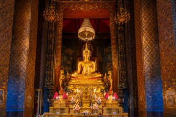 Buddha Statue at Wat Bovorn (Bowon) in Bangkok, Thailand