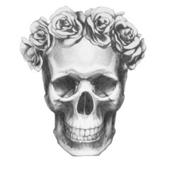 Original drawing of Ram with roses. Isolated on white background