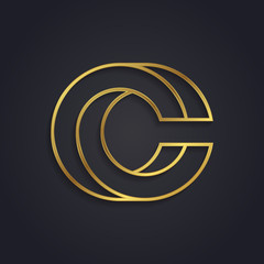 Vector graphic gold alphabet / impossible letter symbol / Letter C