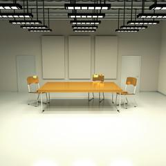Raum mit Tisch und Stühlen