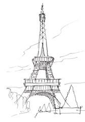 eiffel tower hand pen doodle sketch