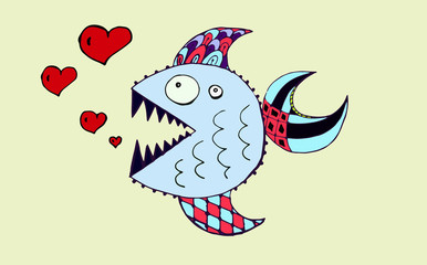 Fish and hearts . Piranha .Vektor