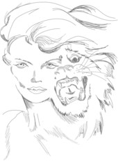 A woman and tiger in one guise