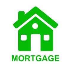 Icono casa y texto MORTGAGE verde