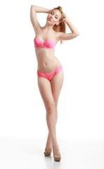 model in pink bikini