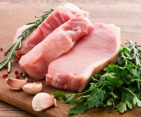 Raw pork meat on wooden desk