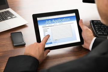 Businessman Filling Online Job Application