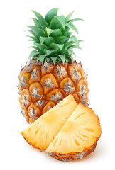 Fresh pineapple with slices over white background