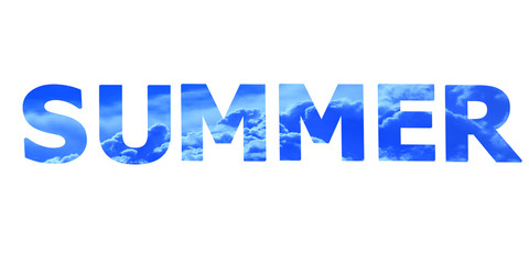 word summer by blue sky letters isolated