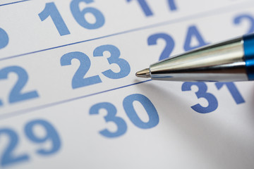 Fototapete - Close-up Of Calendar And Pen