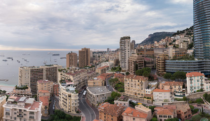 The rooftops of Monaco from an elevated view point.