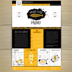 Seafood concept Web site design. Corporate identity.
