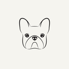 Stylized head of a dog on light background
