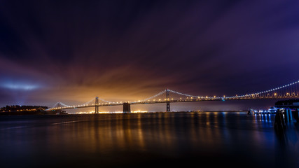 Fototapete - San Francisco-Oakland Bay Bridge at night