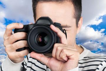 Camera, men, photo.