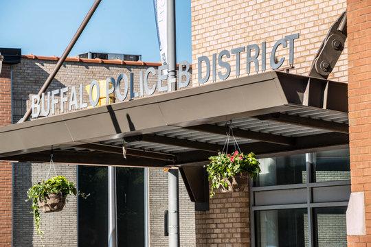 Buffalo Police B District Sign. Sign indicating Buffalo Police B District, on Main Street in downtown Buffalo, New York.