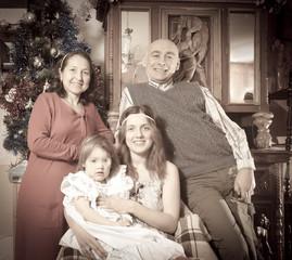 Imitation of aged photo of happy  family