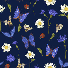 Summer Vintage Seamless Pattern with Blooming Chamomile
