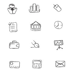 doodle, business, icon, set, sketch, hand drawing, vector