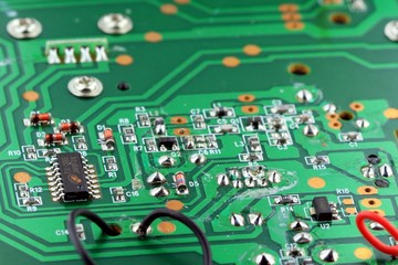 Computer Technology - Green Computer Circuit Board with Electronics Components and Connectors