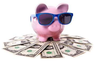 Piggy Bank with sunglasses and money
