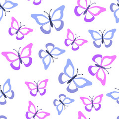Seamless pattern with  butterflies. Vector illustration.