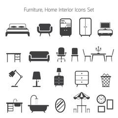 Furniture Mono Icons Set