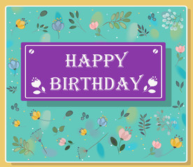 Happy birthday inscription with floral background