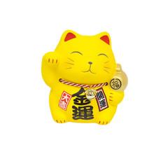 Maneki Neko, Yellow lucky cat isolated on white background
