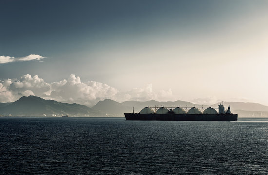 LIQUEFIED NATURAL GAS LNG CARRIER SHIP WITH FIVE TANKS TRINIDAD AND TOBAGO